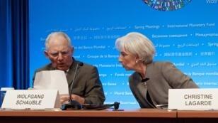 Wolfgang Schaüble, ici avec Christine Lagarde en 2015, a été présenté comme le gagnant du bras de fer avec le FMI sur la question grecque.