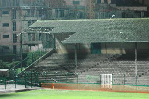A collapsed section of the Stade Bauer's tin roof. The crumbling ground has been Red Star's home since 1909. (Photo: allezredstar.com)