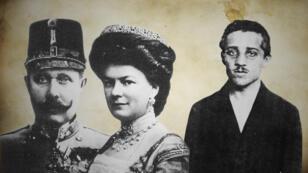 L'archiduc François-Ferdinand et son épouse Sophie, et le tireur Gavrilo Princip