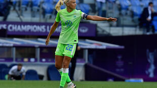 Pernille Harder playing for Wolfsburg in the Champions League final against Lyon