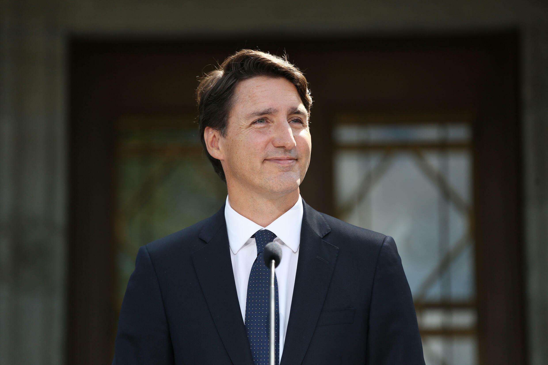 رئيس الوزراء الكندي جاستن ترودو خلال الحملة الانتخابية في اوتاوا في 15 آب/اغسطس 2021