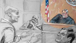 Boceto de la Corte en el tribunal federal de Brooklyn en Nueva York, EE. UU., 19 de noviembre de 2018. B