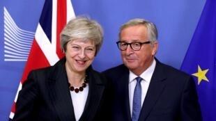 Theresa May et Jean-Claude Juncker le 21novembre2018 à Bruxelles.