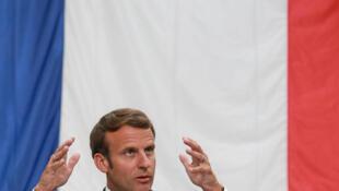 الرئيس الفرنسي إيمانويل ماكرون خلال مؤتمر صحفي، في 26 مايو/أيار 2020.