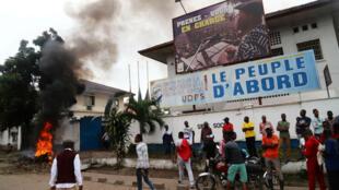Des suppporters de Félix Tshisekedi, leader de l'UDPS, s'opposant à la candidature de Martin Fayulu.