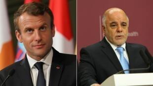 Le président français, Emmanuel Macron, reçoit à Paris, jeudi 5 octobre 2017, le Premier ministre irakien Haïdar al-Abadi.