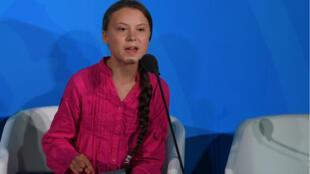 Greta Thunberg s'est exprimée au siège de l'ONU le 23 septembre 2019.
