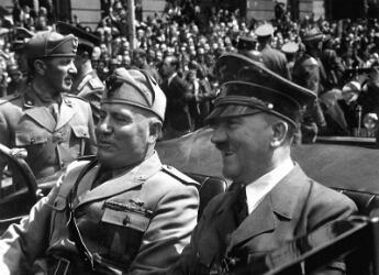 Il Duce and Der Fuhrer: Adolph Hitler and his Italian Fascist ally Benito Mussolini in Munich, 1940.