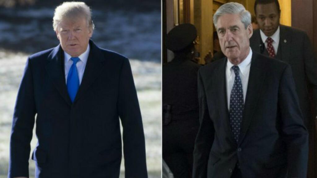 """El presidente de Estados Unidos, Donald Trump, describió la investigación de """"La Trama Rusa"""", dirigida por el ex director del FBI, Robert Mueller, (derecha), como una """"cacería de brujas""""."""