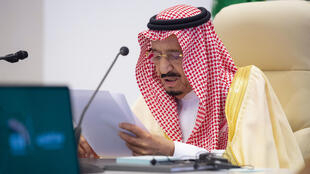 A handout picture provided by the Saudi Royal Palace on November 22, 2020, shows Saudi King Salman bin Abdulaziz Al-Saud delivering an address during the second session of the G20 summit, held virtually due to the COVID-19 coronavirus pandemic, in the capital Riyadh.