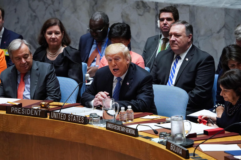 الرئيس الأمريكي دونالد ترامب والأمين العام للأمم المتحدة أنطونيو غوتيريس. 26 أيلول/سبتمبر 2018.