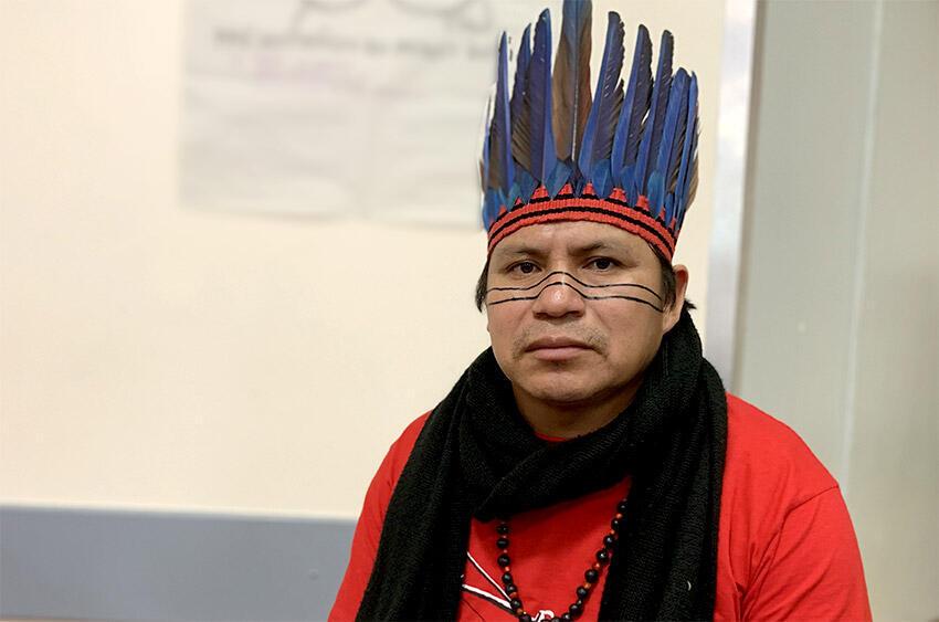 Elizeu Guarani, porte-parole des Guarani Kaiowa du Mato Grosso do Sul, à Paris, le 12 novembre 2019.