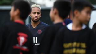 L'attaquant brésilien Neymar, la veille du Trophée des champions remporté par le PSG contre Rennes, à Shenzhen, le 2 août 2019.