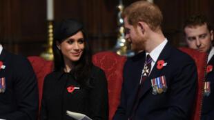 El príncipe Harry y su prometida Meghan Markle asisten a un Servicio de Acción de Gracias en la Abadía de Westminster en Londres el 25 de abril de 2018.