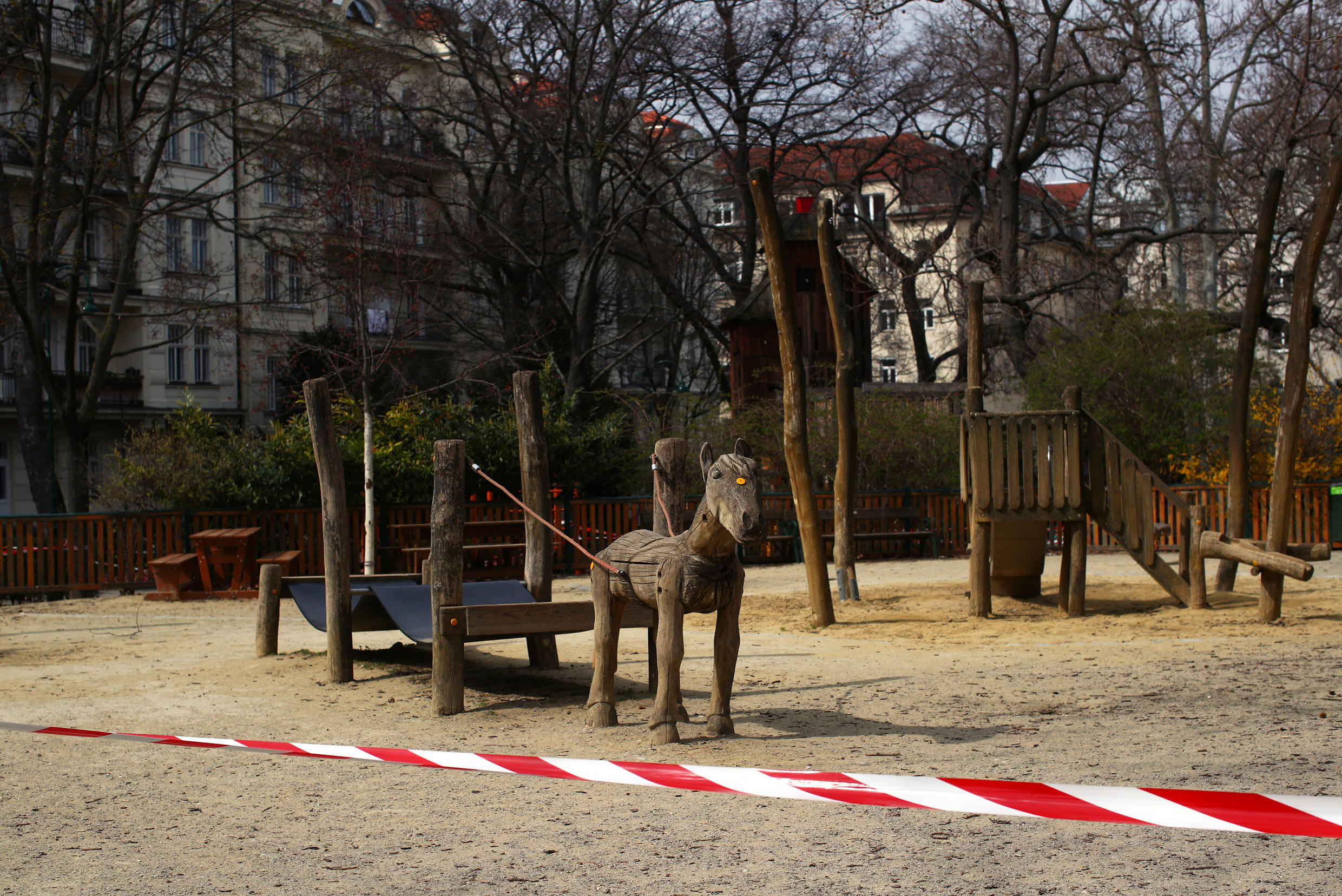 An empty playground in Vienna, Austria, where officials have announced plans to open some public parks starting next week.