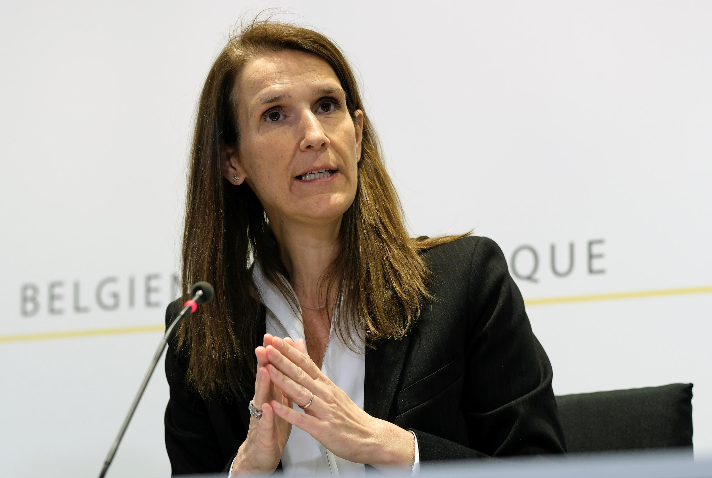 Belgium's Prime Minister Sophie Wilmes holds a news conference on post-lockdown measures amid coronavirus disease (COVID-19) outbreak, in Brussels, Belgium April 24, 2020.