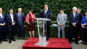 François Hollande lors de son discours, le 17 juillet 2019, devant plusieurs figures historiques du PS au Sénat.