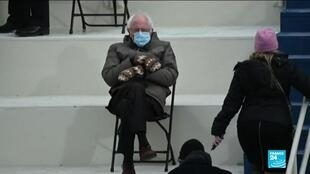 2021-01-21 17:14 Bernie Sanders becomes internet meme with mittens during US inauguration ceremony