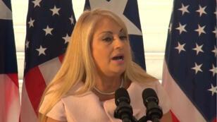 La secretaria de Justicia de Puerto Rico, Wanda Vázquez, asiste a una conferencia de prensa. Foto archivo.
