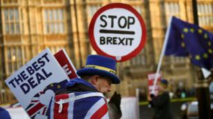 Un ciudadano se manifiesta en contra del Brexit fuera del Parlamento británico. Londres, Reino Unido, 17 de enero de 2019.