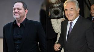 À gauche, le producteur de cinéma Harvey Weinstein. À droite, Dominique Strauss-Kahn.