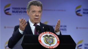 Le président colombien Juan Manuel Santos à Bogota, le 3 octobre 2016.
