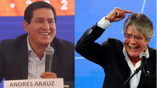 Andrés Arauz (left) topped the first-round vote on February 7, followed by conservative candidate Guillermo Lasso.