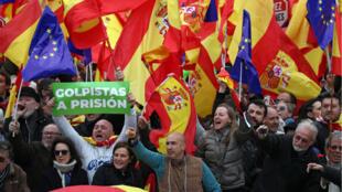 مظاهرات اليمين واليمين المتطرف قي مدريد، 10 فبراير /شباط 2019.