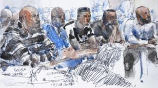 Un dessin représentant Booba, à gauche, et Kaaris, à droite, au tribunal de Créteil, jeudi 6 septembre 2018.
