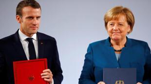 La canciller alemana, Angela Merkel y el presidente de Francia, Emmanuel Macron, encabezaron la firma del Tratado de Aquisgrán que busca reforzar la cooperación bilateral. 22 de Enero de 2019. Aquisgrán – Alemania.