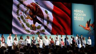 Vista general de la inauguración de la XVII Cumbre Mundial de Premios Nobel de la Paz este jueves en la ciudad de Mérida (México).