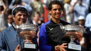 Family feeling: Rafael Nadal with his uncle and former coach Toni Nadal after winning the 2017 Roland Garros title