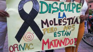 Manifestación civil tras la masacre de cinco indígenas en el Valle del Cauca, Colombia.