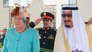 Angela Merkel les cheveux floutés en Arabie saoudite ? Un photomontage.
