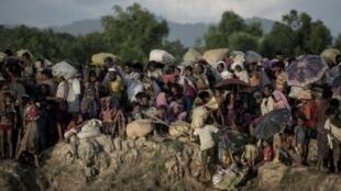 عدد من النازحين الروهينغا قبالة الحدود مع بنغلادش بانتظار العبور لمخيمات اللاجئين هناك.