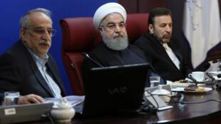 Le président iranien Hassan Rouhani lors d'une réunion à Téhéran, le 8 janvier 2018.