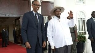 The relationship of Rwanda's Paul Kagame,left, and Uganda's Yoweri Museveni, once close allies who backed each other into power, has turned deeply hostile