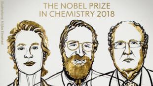 الفائزون بجائزة نوبل للكيمياء 2018، فرانسيس آتش أرنولد، جورج ب. سميث، غريغوري ب. وينتر.