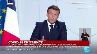 """2020-10-28 20:03 Allocution d'Emmanuel Macron : """"près de 9 000 patients seront en réanimation à la mi-novembre"""""""