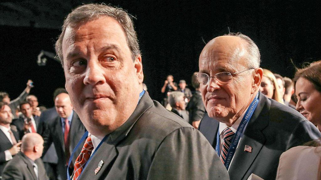 Le sénateur du New Jersey, Chris Christie, et l'ancien maire de New York Rudy Giuliani.