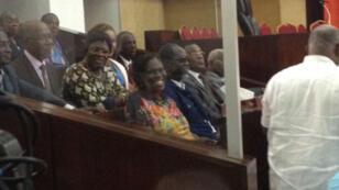 """Simone Gbagbo, surnommée """"la dame de fer"""", dans le box des accusé à la Cour d'Assises d'Abidjan, le 26 décembre 2014."""