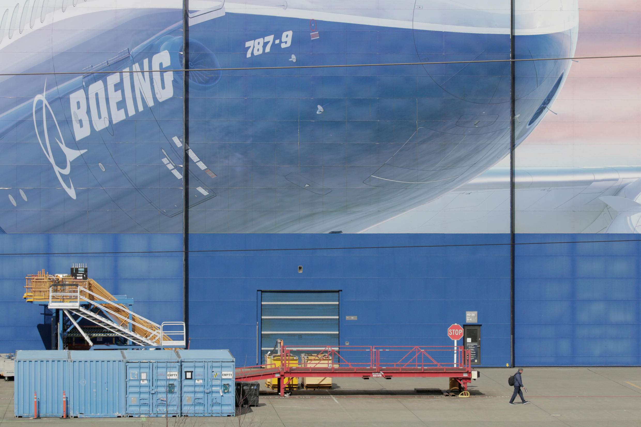 A worker leaves the Boeing Everett Factory in Everett, Washington state, US on March 23, 2020.