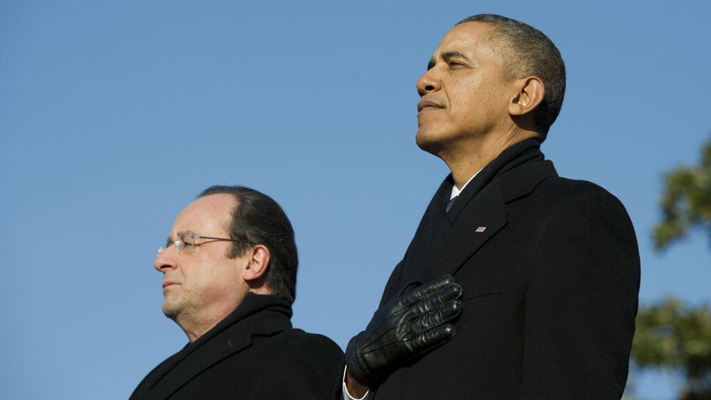 أوباما وهولاند في واشنطن في 11 شباط/ فبراير 2014