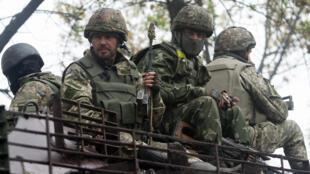 Soldats du contingent ukrainien près de Donetsk, le 26 septembre 2014.