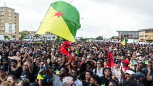 Manifestation de soutien à la grève générale en Guyane, le 28 mars 2017, à Cayenne.