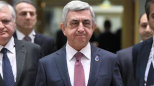 Le président Serge Sarkissian lors d'un sommet européen à Bruxelles, le 24 novembre 2017.