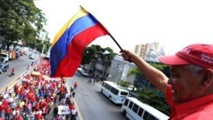 Trabajadores de la estatal Petróleos de Venezuela (PDVSA) salieron a marchar a las calles de Caracas este jueves, 31 de enero de 2019, para mostrar su apoyo al presidente Nicolás Maduro.