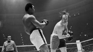 Chuck Wepner affronte Mohamed Ali, champion du monde poids lourd, le 24 mars 1975 au Coliseum de Richfield, dans l'Ohio.
