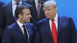 Le président français Emmanuel Macron et le président américain Donald Trump lors du Sommet des dirigeants du G20 à Buenos Aires, le 30 novembre 2018.