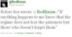 Le compte Twitter de Razan Ghazzawi